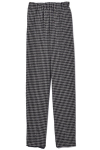 Wool Check Pants with Elastic in Nero