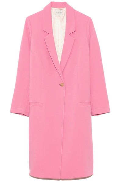 Wool Viscose Double Crepe Coat in Rosie