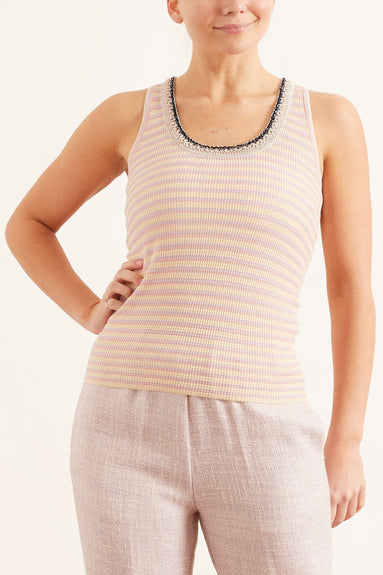 Cotton Viscose Merinos Ribbed Tank Top in Lilac