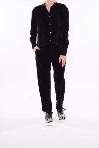 Slubbed Cotton Velvet Pants in Nero