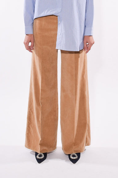 Wide Slubbed Cotton Velvet Pants in Cammello