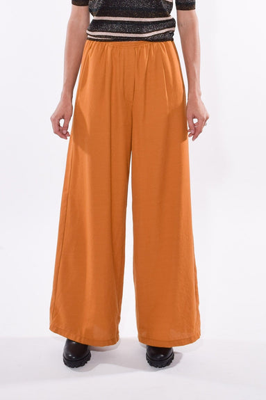 Wool Structured Wide Pants with Elastic in Ruggine