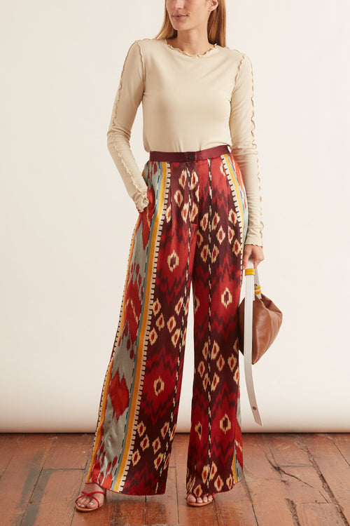 Silk Satin Wide Pants in Sunstone
