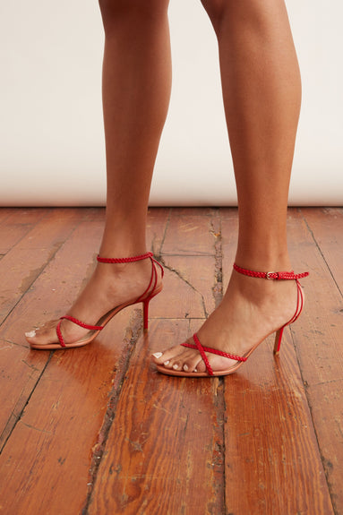 Strappy Ankle Strap Sandal in Red