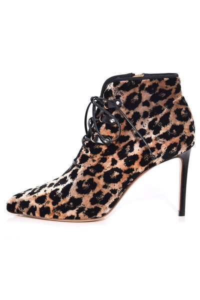 Velvet Ankle Boot in Natural/Black