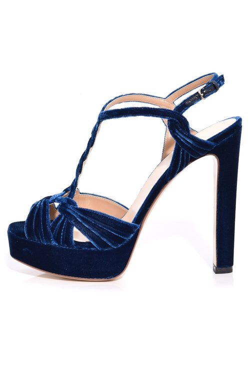 Velvet Platform Heel in Navy Blue