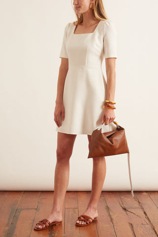Kylie Square Neck Mini Dress in Soft White