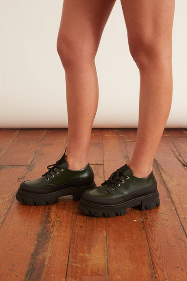 Brush Off Platform Shoe in Dark Green