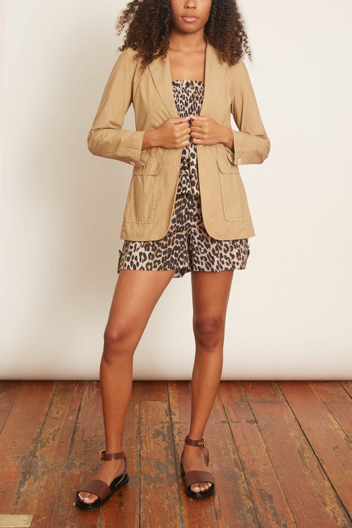 Cotton Silk Shorts in Leopard