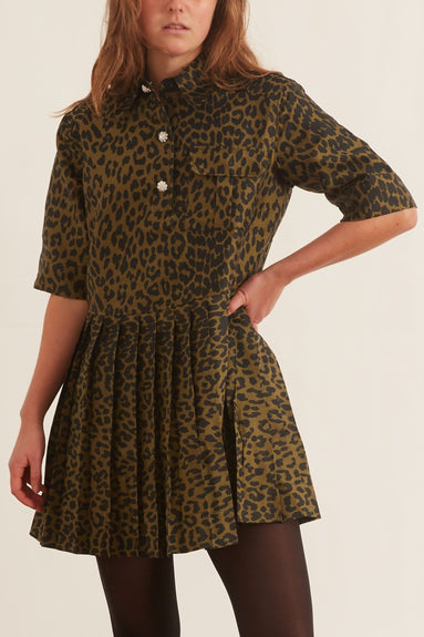 Crispy Jacquard Dress in Olive Drab