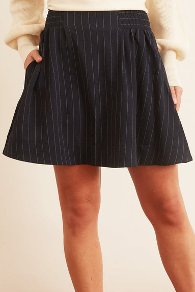 Heavy Crepe Elastic Waist Mini Skirt in Sky Captain