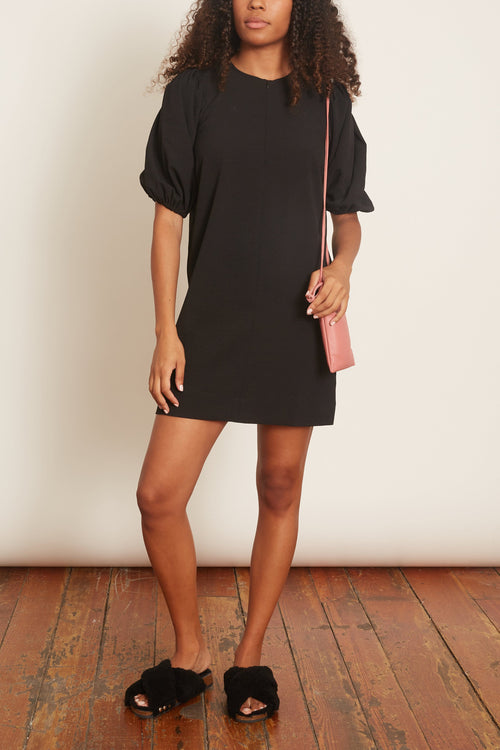 Heavy Crepe Puff Sleeve Dress in Black