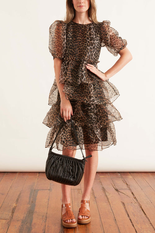 Organza Tiered Dress in Leopard