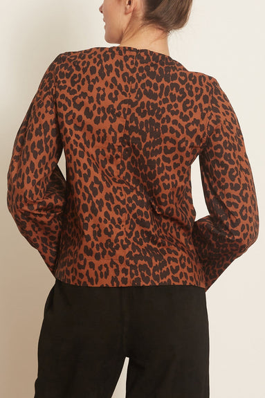 Printed Cotton Poplin Blouse in Toffee