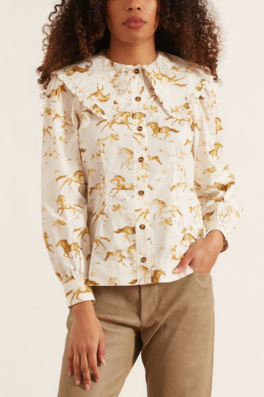 Printed Cotton Poplin Long Sleeve Top in Cognac