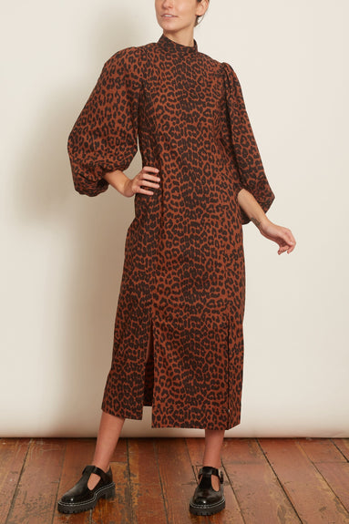 Printed Cotton Poplin Puff Sleeve Dress in Toffee