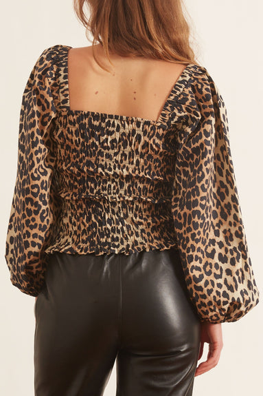 Printed Cotton Poplin Puffy Sleeve Top in Leopard