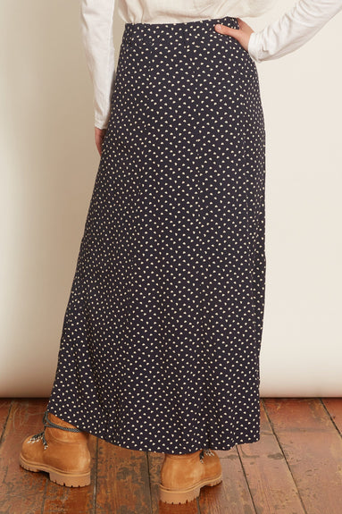 Printed Crepe Button Front A-Line Skirt in Sky Captain