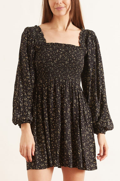 Printed Crepe Dress in Black