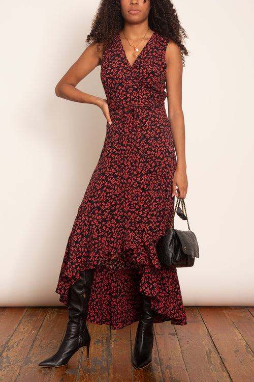 Printed Crepe Sleeveless Wrap Dress in Black