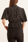 Printed Crepe Top in Black
