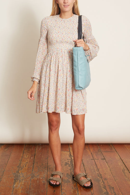 Printed Georgette Smocked Dress in Egret