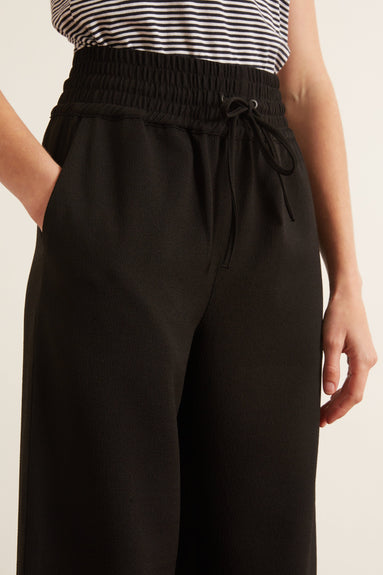 Recycled Heavy Crepe Pants in Black