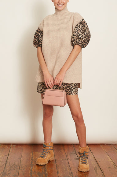 Rib Knit Sleeveless Tunic in Sand