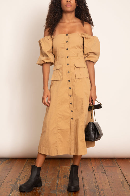 Ripstop Cotton Chino Dress in Tannin