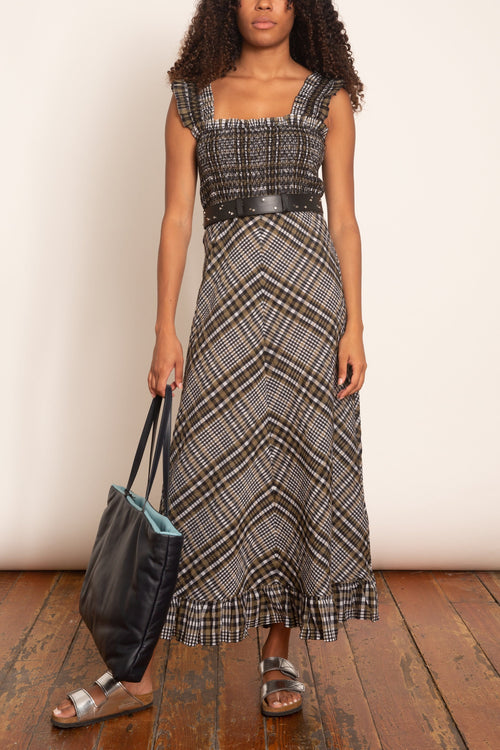 Seersucker Check Sleeveless Dress in Kalamata