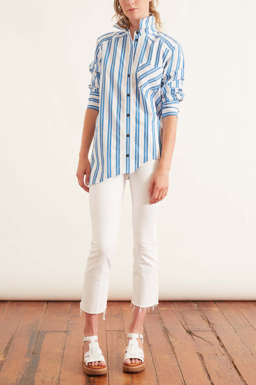 Stripe Cotton Button Down Top in Daphne