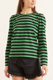 Striped Cotton Jersey Tee in Kelly Green