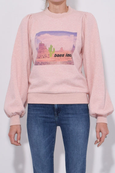 Boss Lady Puff Sweatshirt in Silver Pink