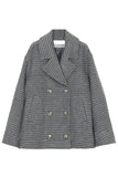 Check Wool Short Jacket in Charcoal Grey