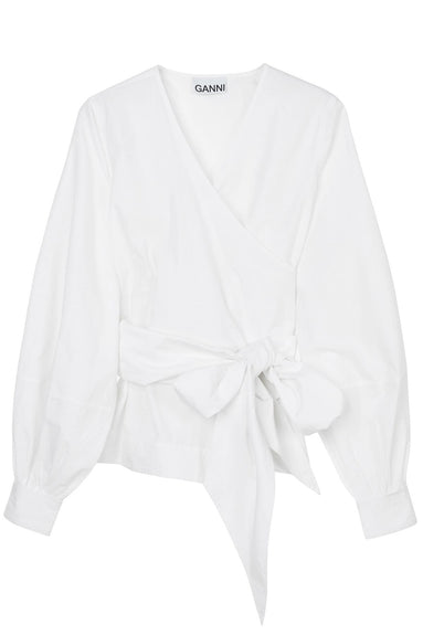 Cotton Poplin Wrap Shirt in Bright White
