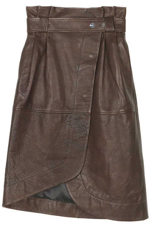 Grain Leather Skirt in Chicory Coffee