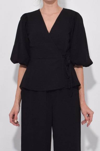 Heavy Crepe Wrap Blouse in Black