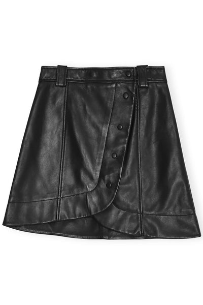 Lamb Leather Mini Skirt in Black
