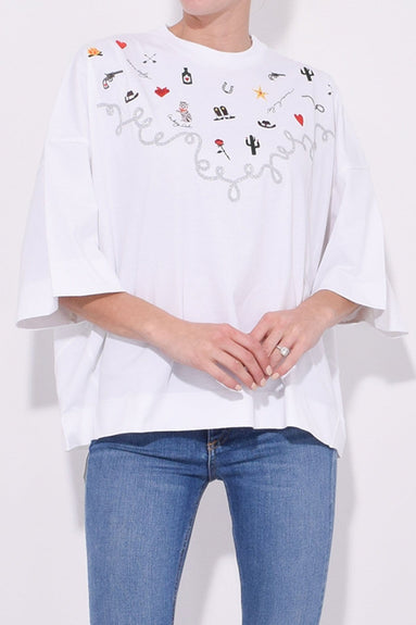 Oversized Western T-Shirt in Bright White
