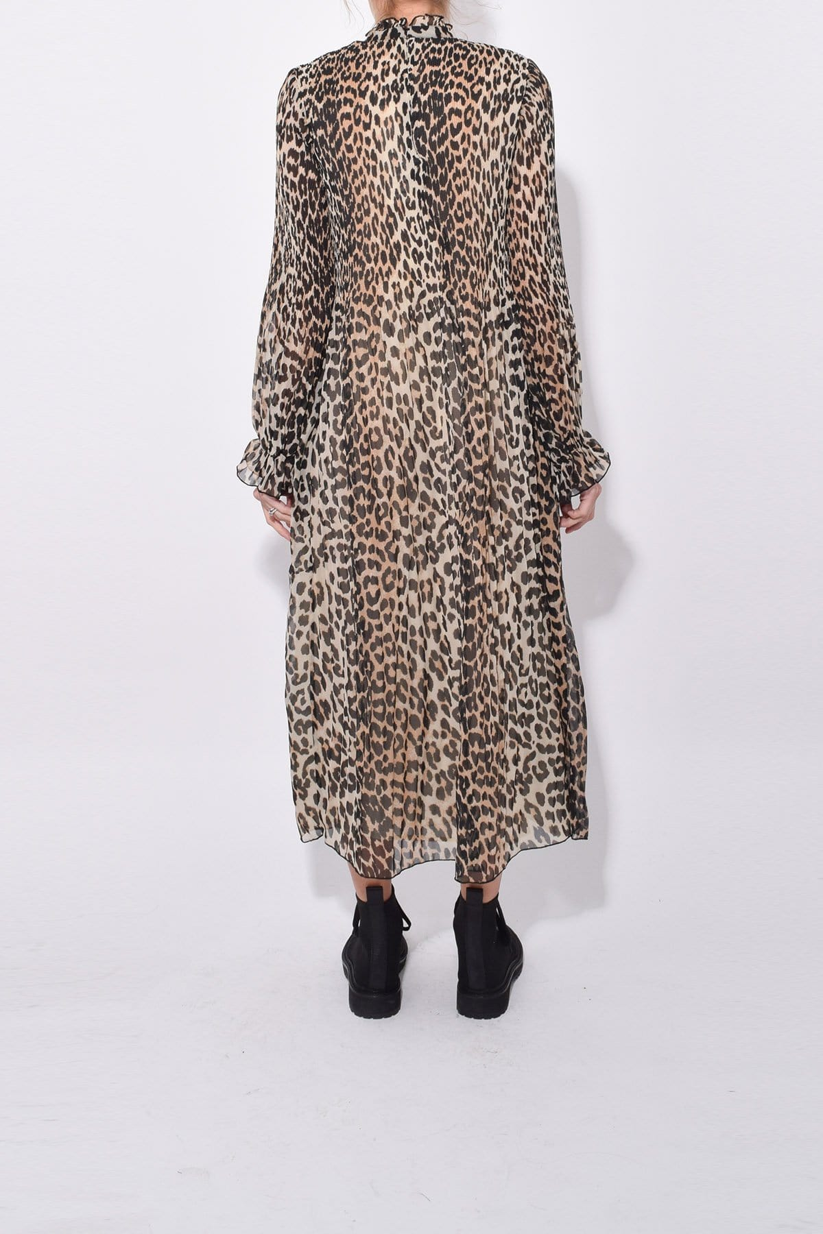 High-Neck Animal Leopard Print Sheer Gathered Pleated Georgette Maxi Dress/Midi Dress With Ruffles