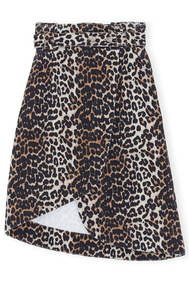 Print Denim Asymmetric Skirt in Leopard
