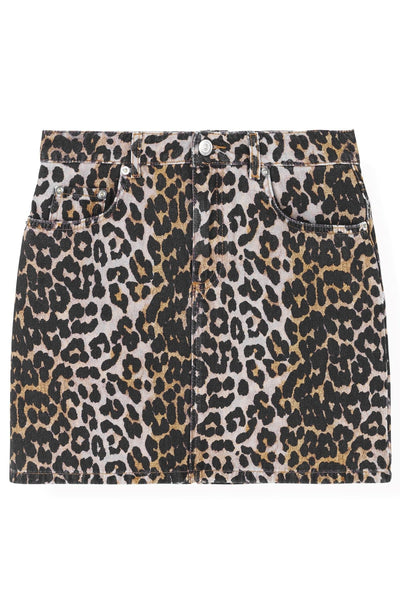 Printed Denim Skirt in Leopard
