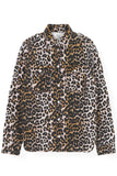 Printed Denim Utility Shirt in Leopard