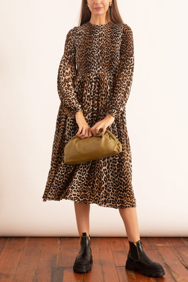 Printed Georgette Ruched Front Dress in Leopard