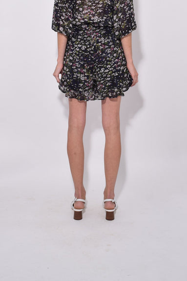 Printed Georgette Shorts in Black