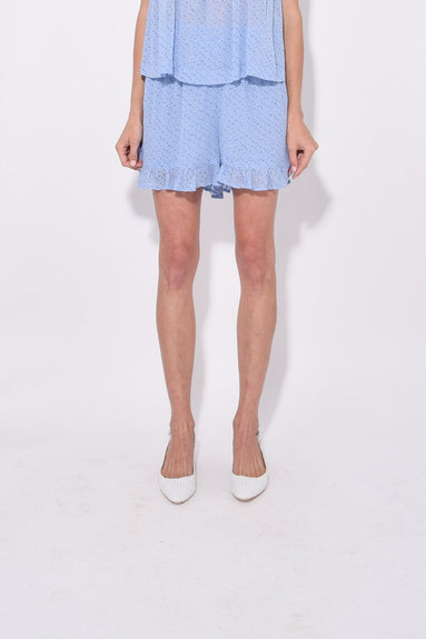 Printed Georgette Shorts in Forever Blue