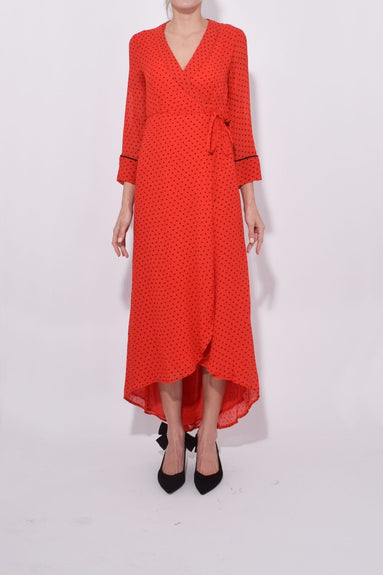 Printed Georgette Wrap Dress in Fiery Red