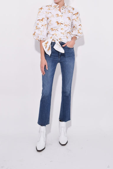 Printed Poplin Wrap Blouse in Bright White