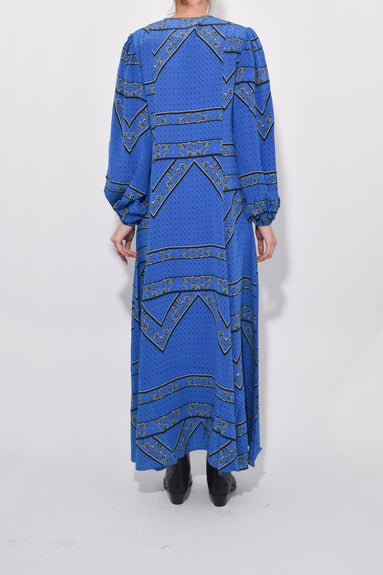 Sandwashed Silk Maxi Dress in Lapis Blue