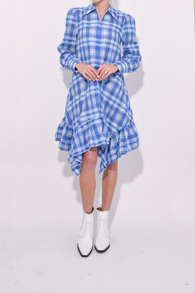 Seersucker Check Dress in Lapis Blue